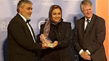 Al Madina Mosque secretary Ash Siddique presented with the award at the Global Donors forum. Pictur