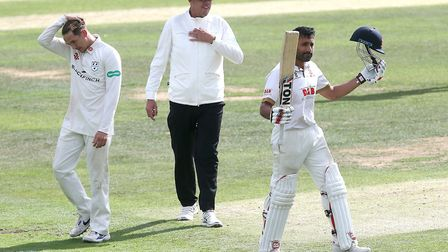 Frustration for Ben Twohig of Worcestershire as Ravi Bopara reaches his century (pic Gavin Ellis/TGS