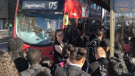 Pupils were left waiting outside packed school buses for 45 minutes. Picture: All Saints Catholic Sc