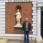 Tony Farrugia, outside St Botolph-without-Bishopsgate church where a book of rememberance has been p