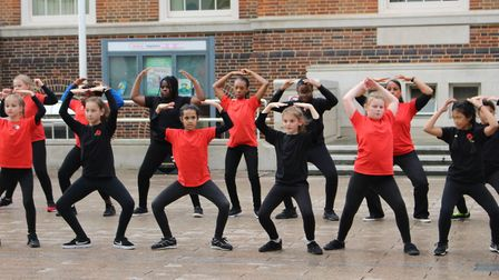 The flashmob outside Barking Town Hall. Picture: Emma Meek