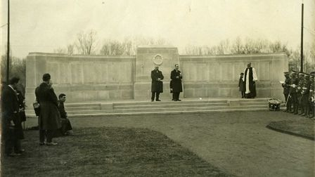Tthe First World War Memorial in Barking Park showing a military band and spectators. Pic: Courtesy