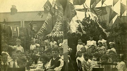 Children at a garden party for Armistice Day in the borough following the end of the First World War