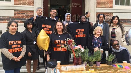 A stall was set up outside Barking Town Hall to mark World Menopause Day and tackle the taboo around