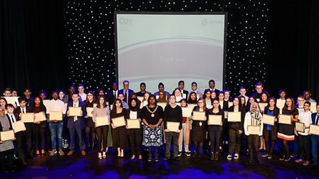 Winners of the Colin Pond Trust Scholarship Awards at a ceremony at The Broadway Theatre in Barking.