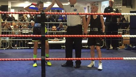 Harry Carter celebrates his win over Frankie Hayles on a busy Dagenham BC show (pic: Dagenham BC)