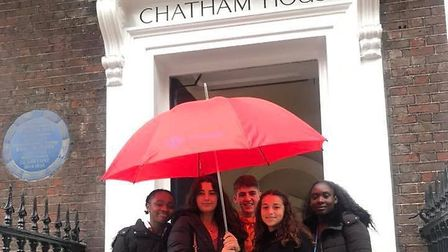 A-level politics students from All Saints Catholic School in Dagenham went to Chatham House for a de