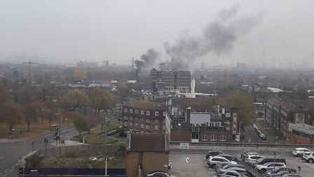 The smoke billowing over Barking. Picture: Sophie Morton