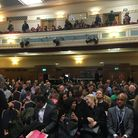 The Islington Assembly Hall was packed for People's Question Time. Picture: LUCAS CUMISKEY