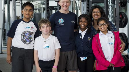 Kulvinder with her students and astronaut, Tim Peake. Picture: Michael Cockerham