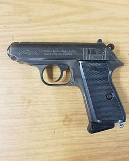 Sleman was caught with this imitation gun. Pic: City Police.