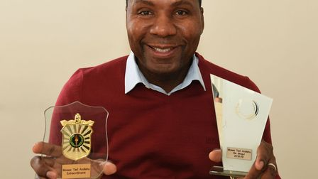 Moses Andishu, founder of Barking business Tedmoses with his awards.