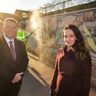 Council leader Darren Rodwell with Be First chief planner Caroline Harper by the mural in River Road