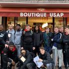 Students from Barking and Dagenham College outside the USAP shop during their visit to Perpignan. Pi
