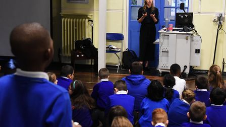 Reporter Rhiannon Long talking to pupils at Dorothy Barley Junior Academy about journalism. Picture: