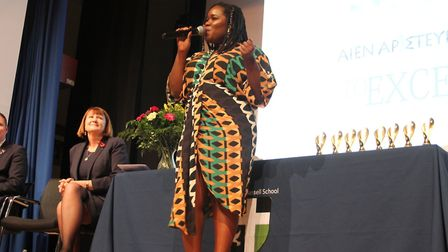 Former Sydney Russell student and jazz singer Zara McFarlane returned for the school's Prize-giving
