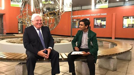 Sydney Russell alumnus and businessman Martin Sullivan, pictured with student Nir Amin. Picture: The