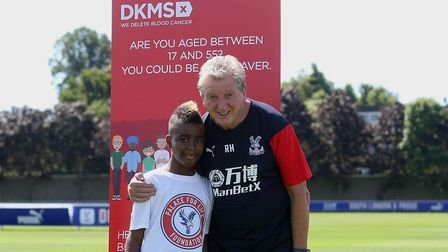 Damary Dawkins with Crystal Palace manager Roy Hodgson. Picture: Crystal Palace FC