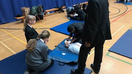 Pupils learning CPR. Picture: Nick Pauro