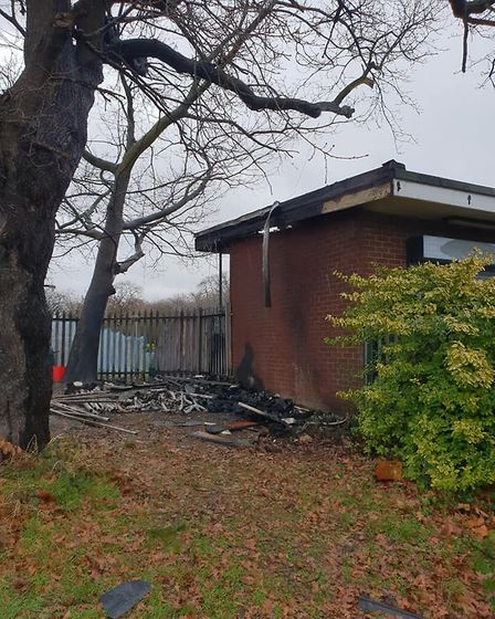 The ashes of a hut at the Dagenham golf course. Picture: Jamie Deeble.