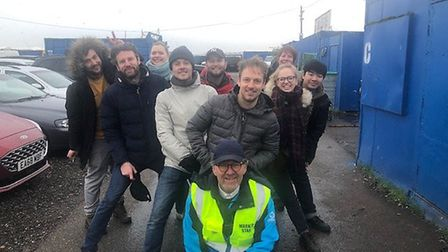 Dagenham Sunday Market owner Frank Nash, front, with some of the film crew. Picture: Frank Nash