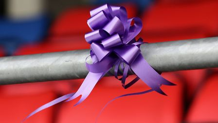 A purple ribbon in memory of Jodie at the club's ground. Picture: GAVIN ELLIS/TGS PHOTO