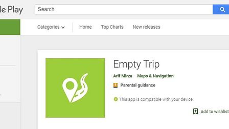 The current Google Play page for the Empty Trip app credits Arif Mirza as the creator.