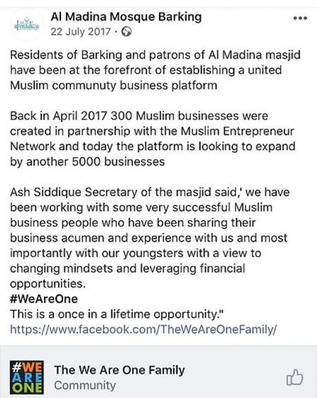 A post on Al Madina Mosque's Facebook page. Picture: Submitted