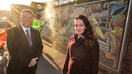 Council leader Darren Rodwell with Be First's chief planner, Caroline Harper, by a mural in River Ro