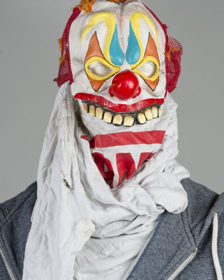 """The clown mask recovered following the chase. DCI Topping said: """"Anyone SEEING this coming towards t"""