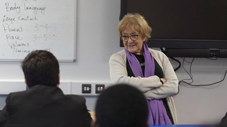 Barking MP Dame Margaret Hodge speaking to pupils at Barking Abbey School about knife crime. Picture