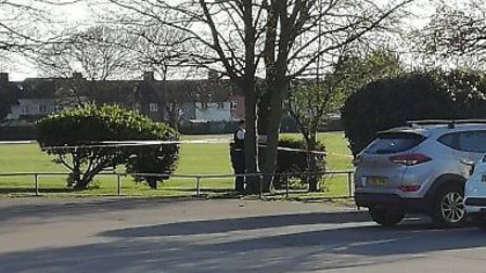 A cordon is in place in Valence Park. Picture: Christine Lumber
