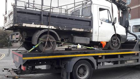 A van taken away from Hertford Road as part of the joint operartion. Picture: LBBD.