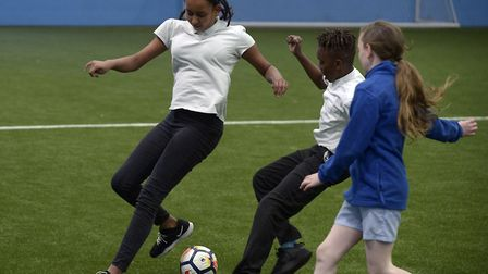 Pupils were able to play on the training pitch. Picture: James Griffiths/West Ham United