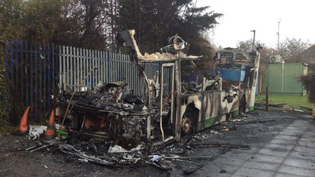 Parents and pupils were shocked when they came into school to find only this shell of the bus. Pictu