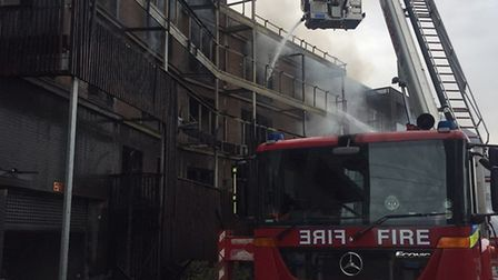 Firefighters tackling the blaze in Barking. Picture: London Fire Brigade