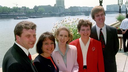 Margaret Hodge, second left, in 1994 with acting Labour leader Margaret Beckett and three other Labo