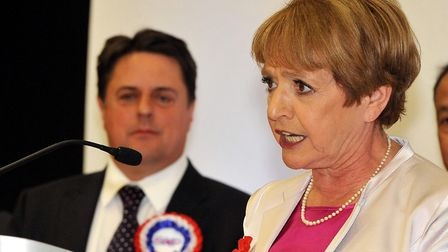 Labour MP Margaret Hodge uses her victory speech to attack the BNP leader Nick Griffin (left), after