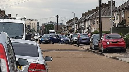 A police pursuit in Dagenham ended on Fitzstephen Road. Picture: Abbie Rose O'Mara