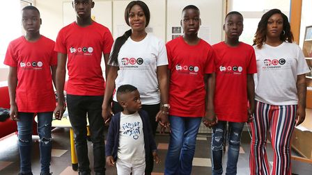 Launch of the All Champion's Charity, with Champion Ganda's mum Peguy Ganda, her sons and family. Pi