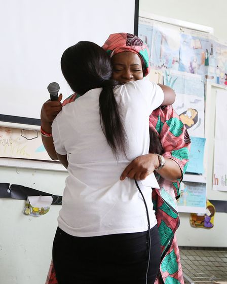 Beatrice Mushiya and Peguy Kato at the launch of all Champion's Charity in Harold Hill. Picture: Mel