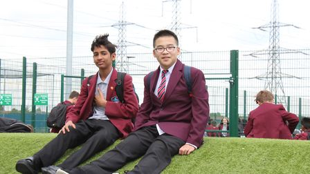 The Chinese youngsters each teamed up with a Riverside student for lessons. Picture: Julian Onyelek