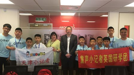 Pupils and teachers from Tianjin TEDA Experimental School in China visited the Post in Barking to me