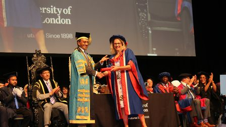 UEL chancellor Shabir Randeree conferred the title upon Wendy at an ExCeL London ceremony. Picture: