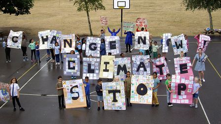 Pupils at Monteagle Primary staged a protest against climate change on Thursday, July 18. Picture: T