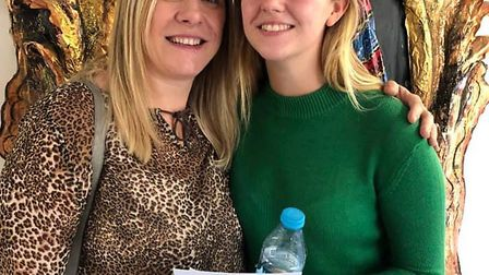 All Saints pupil Ella Gunn celebrates her A-level results with her mum. Picture: Nick Pauro.