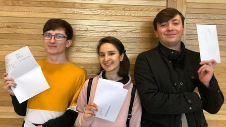 Patrick Sullivan, left, who will study biochemistry at Kings College London, with friends. Picture: