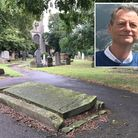 Ian Wilson (inset) has traced his ancestors to a tombstone in the middle of a path in St Margaret's
