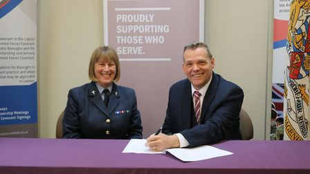RAF Wing Commander Judith Hird and council leader Darren Rodwell. Picture: LBBD.