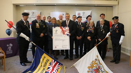 RAF Wing Commander Judith Hird and council leader Darren Rodwell with ex-members of the armed forces